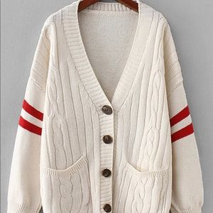Varsity Style Stripe Cable Knit Button Up Cardigan